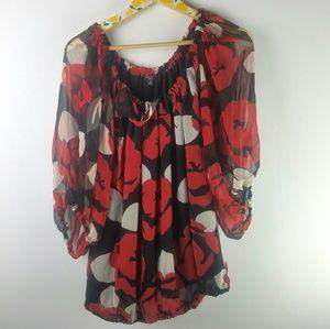 Nine West Silk Floral Blouse Sz 1X